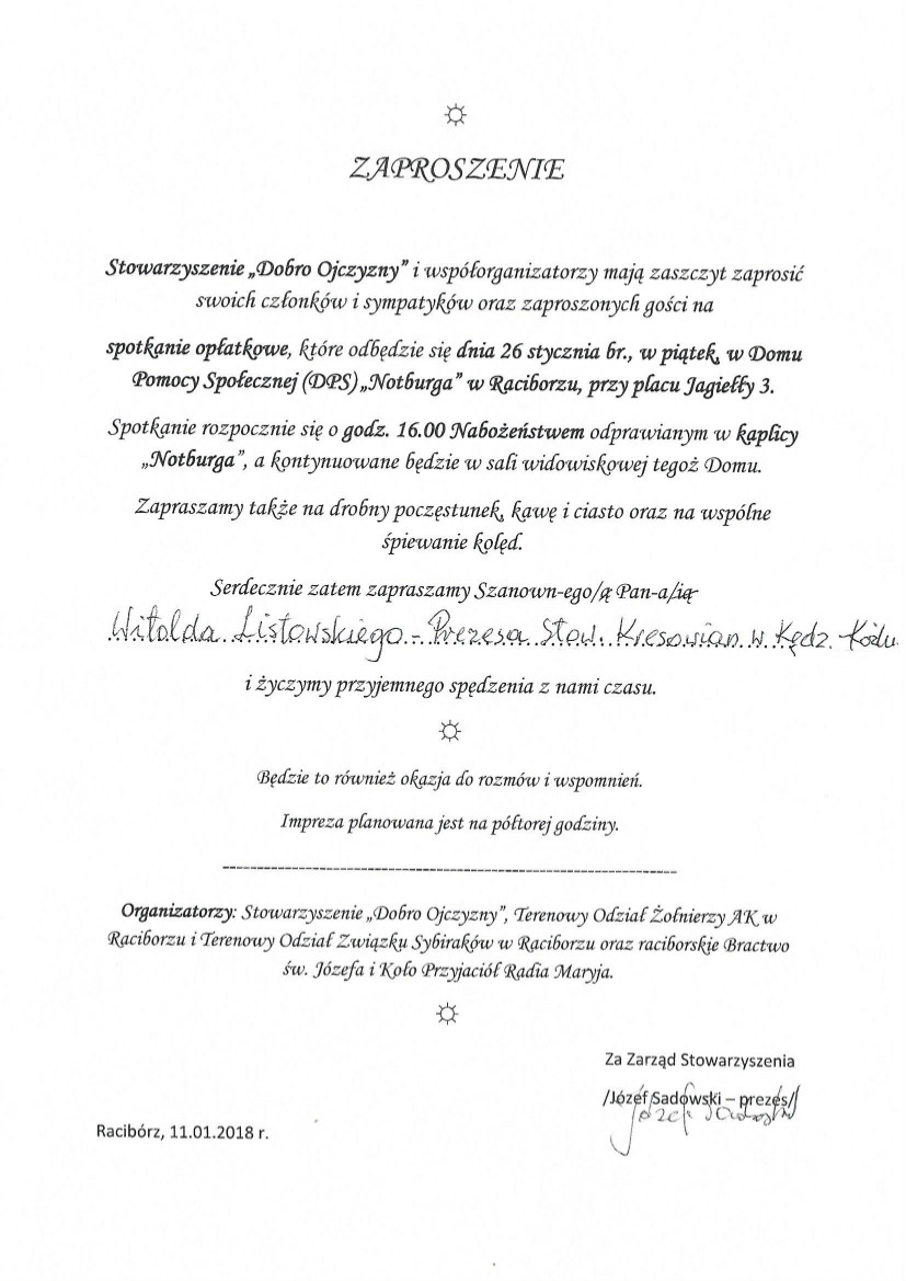 Zaproszenia Z 2018 R Stowarzyszenie Kresowian W Kędzierzynie Koźlu